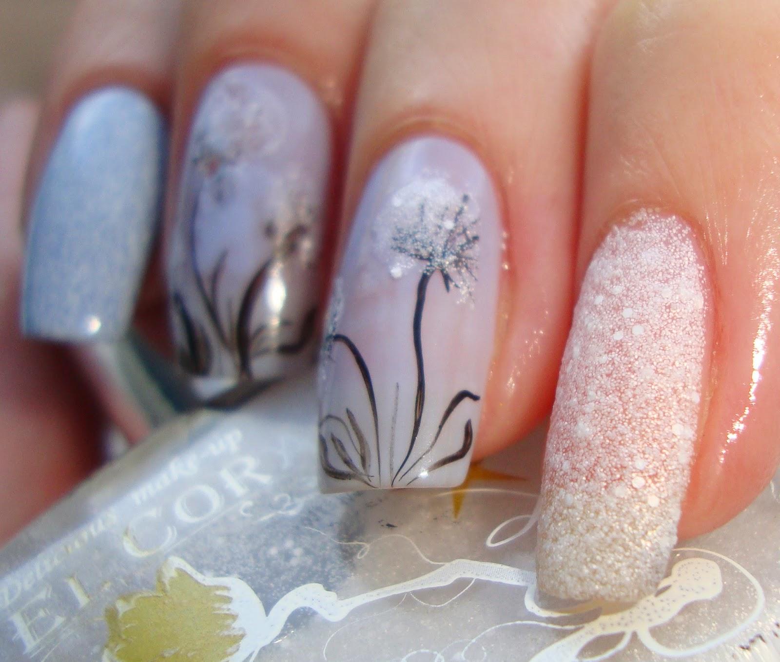 Маникюр одуванчик на ногтях