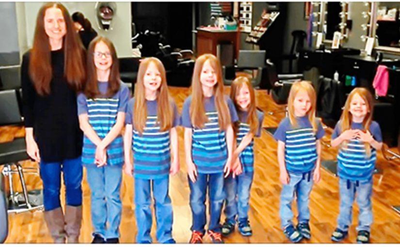 Фиби Каннисто и ее шестеро деток пожертвовали свои волосы для програмы поддержки онкобольных