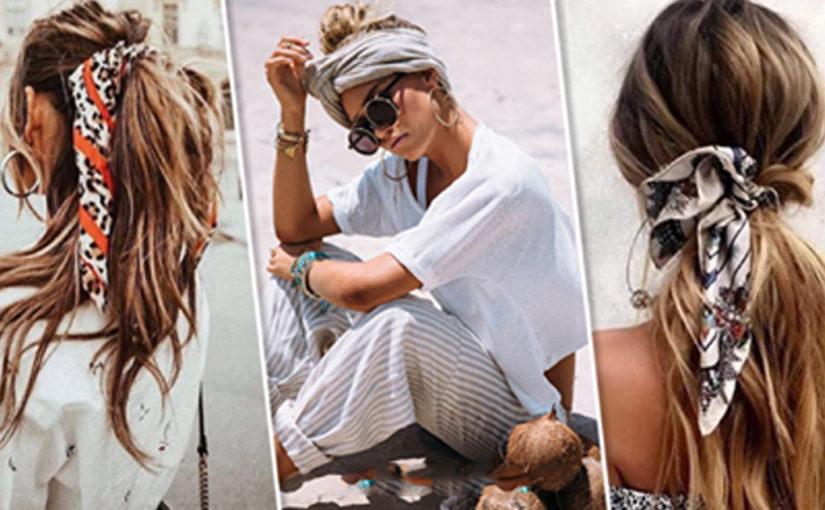 Шейный платок как оригинальный аксессуар для волос — 11 ярких образов