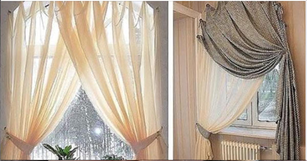 Несколько способов повесить штору без карниза.
