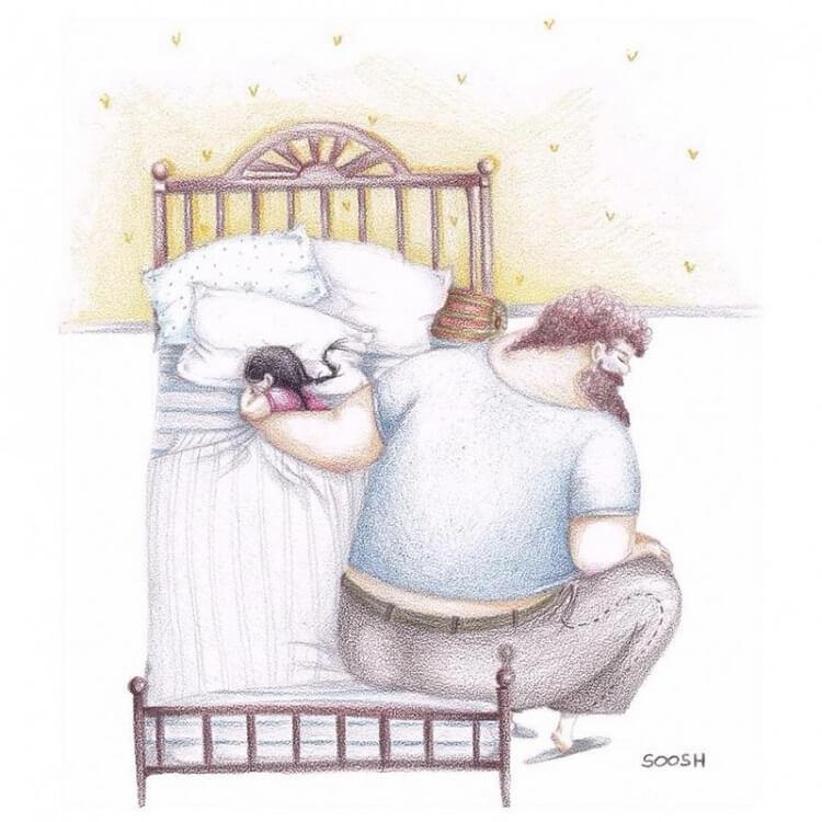 14 рисунков, объясняющих отношения отцов и дочерей.