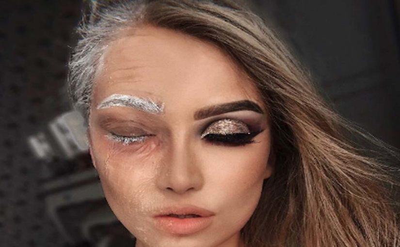 Девушка трансформирует свое тело с помощью макияжа и грима
