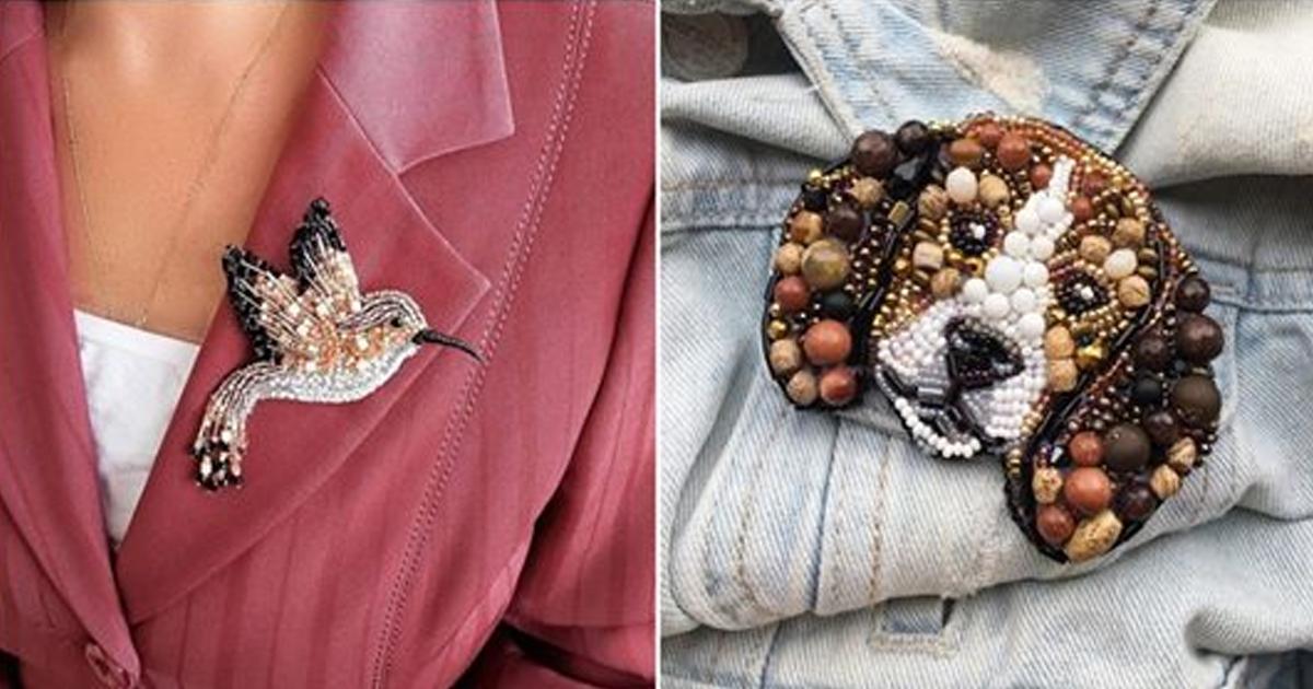 Подборка уникальный украшений — броши из бисера