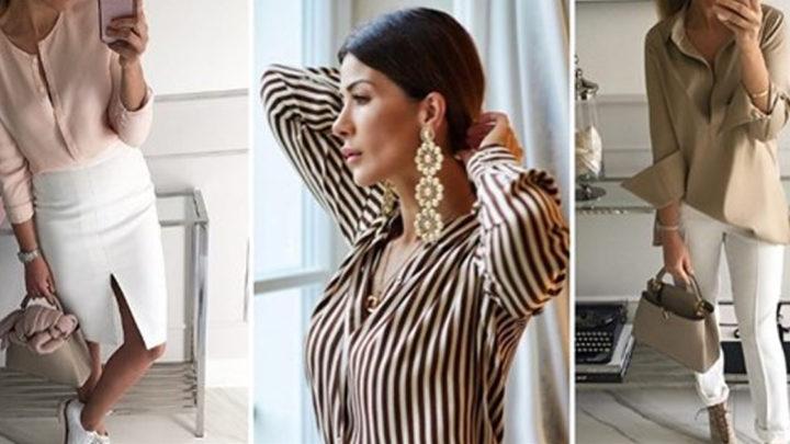 15 элегантных образов с бежевыми блузками и рубашками