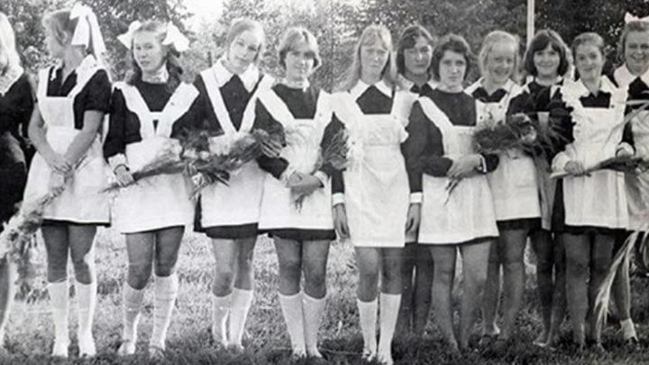 Внешность выпускниц школы в семидесятых годах